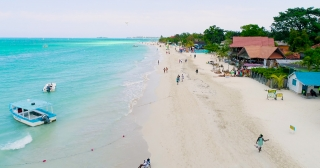 Aerial Drone Shot Over Beautiful Caribbean Blue Sea Beach Jamaica Scenic Seascape Summer Vacation Destination Summer Getaway Concept Slow Motion 4k