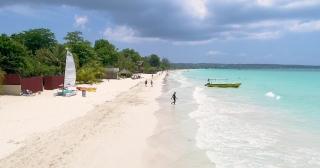 Aerial Drone Shot Over Exotic Ocean Shoreline Beach Jamaican Nature Landscape Exotic Island Tourism Tourism And Travel Concept Slow Motion 4k