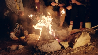 Diverse Group Of Attractive Young People Around Burning Camping Bonfire In The Woods Holding Sparkler Fire Celebrating And Laughing Vacation In Nature Romantic Getaway Concept Slow Motion Shot On Red