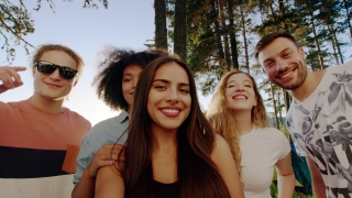 Diverse Group Of Attractive Young People Taking A Selfie At Camping Trip Smiling And Posing Hike In Nature Smartphone Leisure Concept Slow Motion Shot On Red Epic W 8k