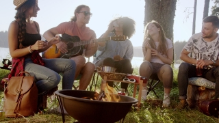 Attractive Multiracial Group Of Young Friends Playing Guitar Around Burning Bonfire In The Woods Drinking And Clapping Music Adventure In The Woods Romantic Musical Getaway Concept Slow Motion Shot On