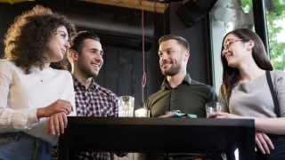 A Group Of Happy Friends Standing Together Around A Bar Table Laughing Drinking Talking Amused Happiness Friendship College Students Fun Party Reunion Slow Motion Shot On Red Epic 8K