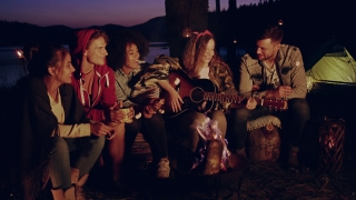 Diverse Group Of Attractive Young People Playing Guitar Around Burning Bonfire In The Woods Clapping Drinking Laughing And Joking Music Vacation In Nature Romantic Musical Getaway Concept Slow Motion