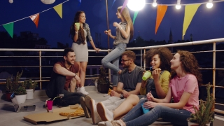 Young Friendly Teens At Celebration Rooftop Party Sitting Down Happy Drinking And Eating Pizza Outdoors Happy Vacation Music Pizza Party Young Carefree Friendship Concept After Sunset Shot on Red Epic