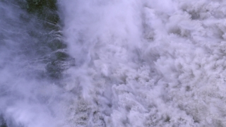 Epic Aerial Flight Over Beautiful Waterfall Crushing Water Spray Myst Unstoppable Force Epic Scale Nature Travel Adventure