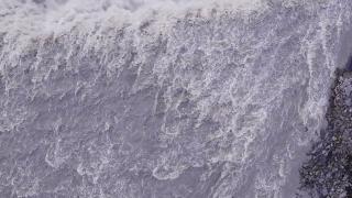 Epic Drone Shot Over Beautiful Waterfall Crushing Water Spray Myst Spirituality Majesty Reverence Nature Travel Adventure