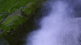 Epic Drone Shot Around Mountain Waterfall Powerful Force Water Crushing Down Grand Scale Epic Scale Nature Travel Adventure