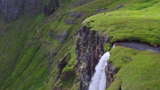 Epic Aerial Flight Around Famous Waterfall In Iceland Water Rushing Down Tall Cliff Spirituality Amazing Nature Sight Epic Adventure