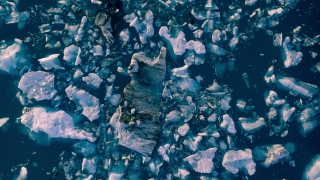 Epic Aerial Flyover Over Glacier Pieces Lagoon In Iceland Sunset Colors Ice Caps Extreme Adventure Concept