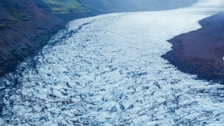 Aerial Flight Over Melting Glacier In Iceland Purple Sunset Global Warming Inspiration