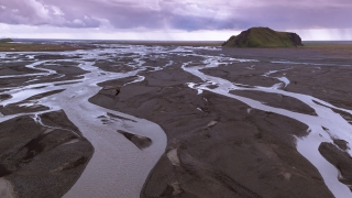 Majestic Aerial Flight Over Beautiful Iceland River Streams Formations Golden Hour Sunset Colors Scandinavian Landscape Epic Scale Breathtaking View