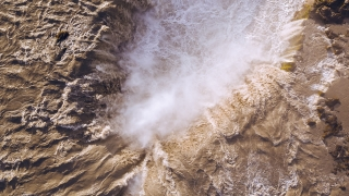 Epic Drone Shot Over Powerful Waterfall In Iceland Powerful Force Water Crushing Down Inspiration Amazing Nature Sight Epic Adventure
