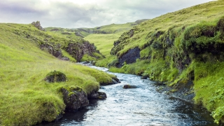 Aerial Flight Over Vast Icelandic Nature Landscape Paradise Spring Stream River Arctic Environment Spirituality Amazing Nature