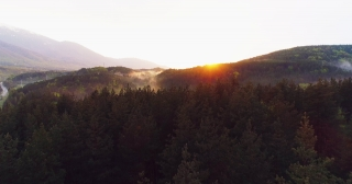 Aerial Drone Flight Through Clouds Of Mist Over Sunset Forrest Beautiful Fall Season Forrest Mountain Sunset Orange Colors Epic Glory Inspiration Travel Concept