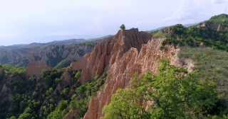 Aerial Drone Flight Of Beautiful Cliff Rock Formations Green Summer Nature Epic Nature Landscape Spirituality Inspiration Hiking And Tourism Concept