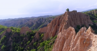Aerial Drone Flight Of Beautiful Cliff Rock Formations Beautiful Summer Green Trees Early Morning In The Mountains Spirituality Inspiration Vacation Concept