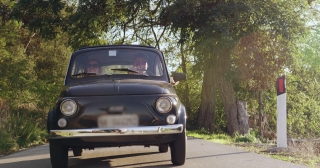 Happy Young Couple Driving Retro Car In Tuscany Summer Fun Vacation Action Slow Motion Shot Red Epic 8k