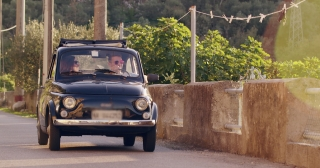 Attractive Adventurous Couple Driving Retro Car In Tuscany Luxury Lifestyle Freedom Slow Motion Shot Red Epic 8k