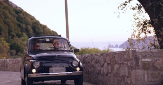 Attractive Adventurous Couple Driving Retro Car In Tuscany Happiness Freedom Leisure Slow Motion Shot Red Epic 8k