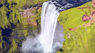 Epic Aerial Flight Over Beautiful Waterfall Powerful Force Water Crushing Down Inspiration Majesty Reverence Nature Epic Adventure