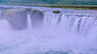 Majestic Aerial Flight Around Famous Waterfall In Iceland Powerful Force Water Crushing Down Creation Majesty Reverence Nature Travel Adventure