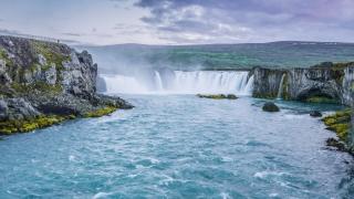 xEpic Drone Shot Over Icelandic River Waterfalls Crushing Water Spray Myst Spirituality Powerful Nature Sight Seeing