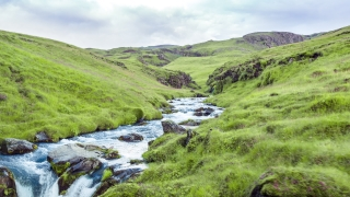 Aerial Flyover Through Beautiful Iceland Mountain Stream River Landscape Geology Wildlife Travel Paradise Inspiration