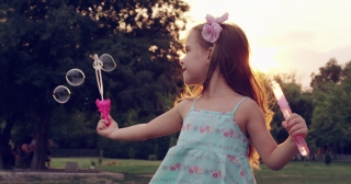 Child Running Through Park With Soap Bubbles Little Girl Childhood Fun Carefree Life Beautiful Summer Sunset Slow Motion Shot On Red Epic 8K