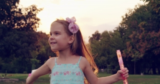 Carefree Little Girl Running Through Meadow Blowing Soap Bubbles Childhood Freedom Innocence Concept Slow Motion Shot On Red Epic 8K