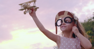 Cute Little Girl Child Playing With Airplane Toy In Park At Sunset Golden Hour Childhood Innocence Play Concept Slow Motion Shot On Red Epic 8K