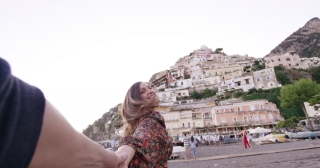 Beautiful Woman Running Through European Old Town Holding Hand Luxury Lifestyle Sunny Vacation Leisure Slow Motion Shot Red Epic 8k