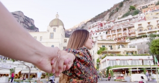 Beautiful Woman Enjoying Trip To Italy Holding Hands Success Sunny Vacation Yachting Slow Motion Shot Red Epic 8k