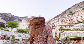Beautiful Woman Running Through European Old Town Holding Hand Happiness Vacation Yachting Slow Motion Shot Red Epic 8k