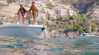 Atheltic Young Couple Man Woman Jumping from Boat Summer Holiday Travel Slow Motion Underwater Shot Red Epic 8k