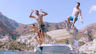 Male Friends Jumping Into The Ocean from Boat Extreme Sports Fun Time Summer Vacation Slow Motion Underwater Shot Red Epic 8k