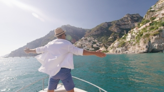 Handsome Successful Man Raising Arms In The Front Of Boat Success Holiday In Europe Extereme Travel Slow Motion Shot Red Epic 8k