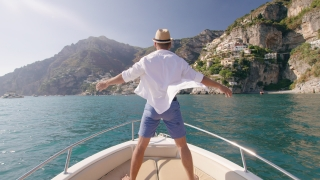 Handsome Successful Man Raising Arms In The Front Of Boat Luxury Lifestyle Holiday In Europe Yachting Slow Motion Shot Red Epic 8k