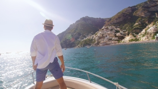 Male Model Raising Arms In The Front Of Boat Success Holiday In Europe Fearlessness Slow Motion Shot Red Epic 8k