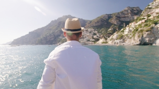 Male Model Standing On Yacht Wind Blowing Whiote Shirt Summer Fun Holiday In Europe Action Slow Motion Shot Red Epic 8k