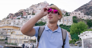 Male Model with Sunglasses Walking in Italy Luxury Lifestyle Happiness Seeker Adventure Slow Motion Shot Red Epic 8k