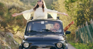 Beautiful Young Couple On Honeymoon In Old Retro Car Happiness Freedom Leisure Slow Motion Shot Red Epic 8k