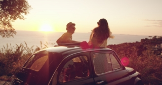 Beautiful Young Couple On Honeymoon By Old Retro Car Enjoying Sunset Flare Happiness Happiness Seeker Italy Adventure Slow Motion Shot Red Epic 8k