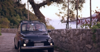 Happy Young Couple On Honeymoon In Old Retro Car Happiness Sunny Vacation Extereme Travel Slow Motion Shot Red Epic 8k