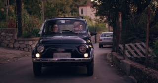 Happy Young Couple On Honeymoon In Old Retro Car Happiness Freedom Italy Adventure Slow Motion Shot Red Epic 8k