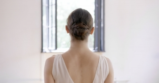 Beautiful Ballerina Woman Back Walking Toward Window Emotional Relentlessness Beauty Concept Slow Motion Red Epic