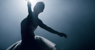 Elegant Female Ballet Professional Performing Choreography Dark Stage Female Power Beauty Smoke Silhouette Slow Motion Red Epic