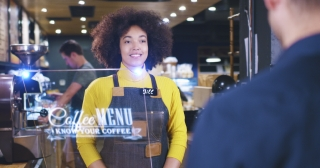 Beautiful Barista Woman Servicing Client At Cafe Bar Futuristic Hud Display Menu Wireless Payment Near Future Concept Red Epic 8K