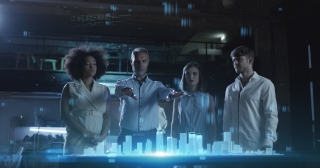 Futuristic Office City 3D Hologram In Front Of Multi Cultural Engineering Business Team Future Of Construction Technology Red Epic 8K