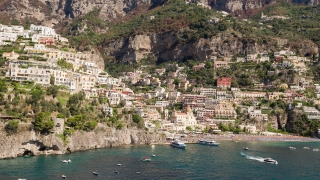 Aerial Flight Over Sunny Positano Italy Shore Mediterranean Panorama European Vacation Tourist Attraction Drone Shot 4k