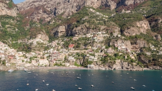 Fly Over Aerial Of Sunny Positano Italy Shore Mediterranean Panorama Luxury Holiday Tourism Travel Drone Shot 4k